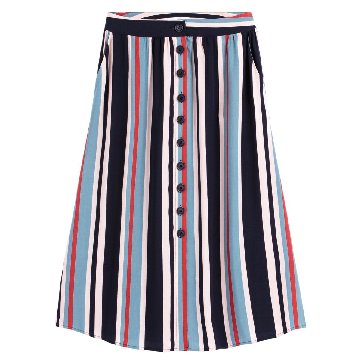 Falda a rayas con largo midi