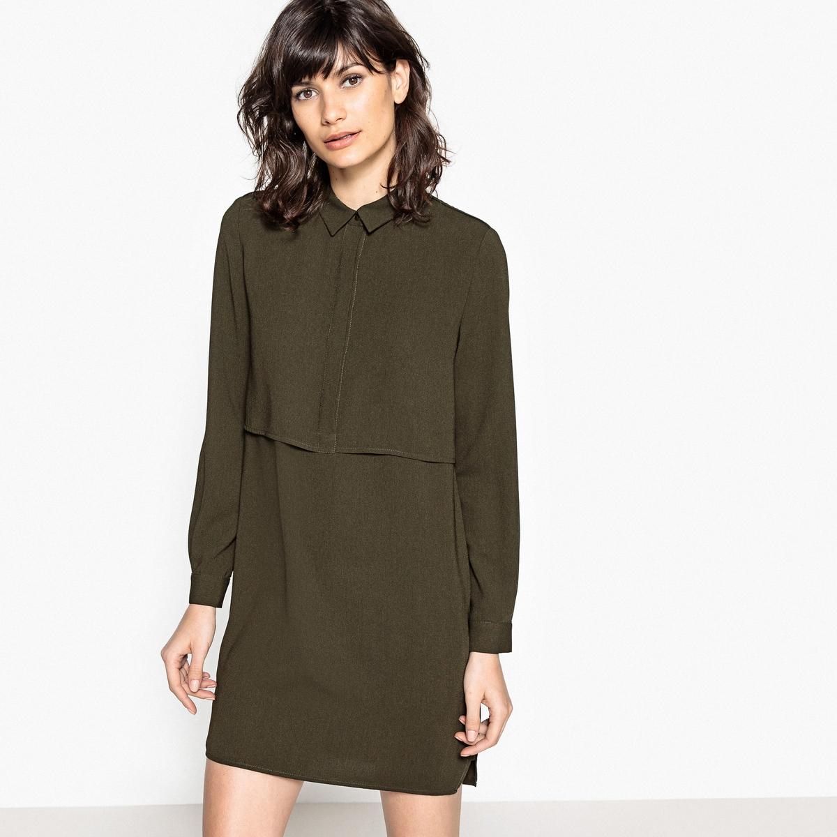 Платье-рубашка короткое, рукава длинныеДетали •  Форма : прямая  •  короткое  •  Длинные рукава     •  Воротник-поло, рубашечный Состав и уход •  100% полиэстер  •  Следуйте советам по уходу, указанным на этикетке<br><br>Цвет: хаки,черный<br>Размер: M.XS.M.S