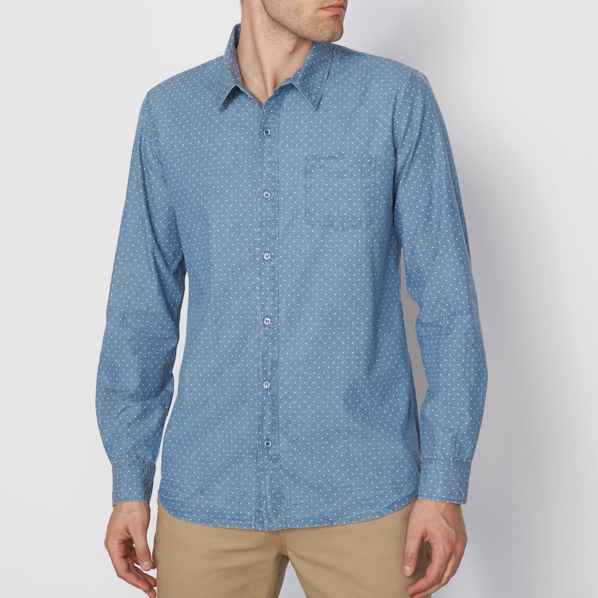 Рубашка узкого покроя из денима с длинными рукавами