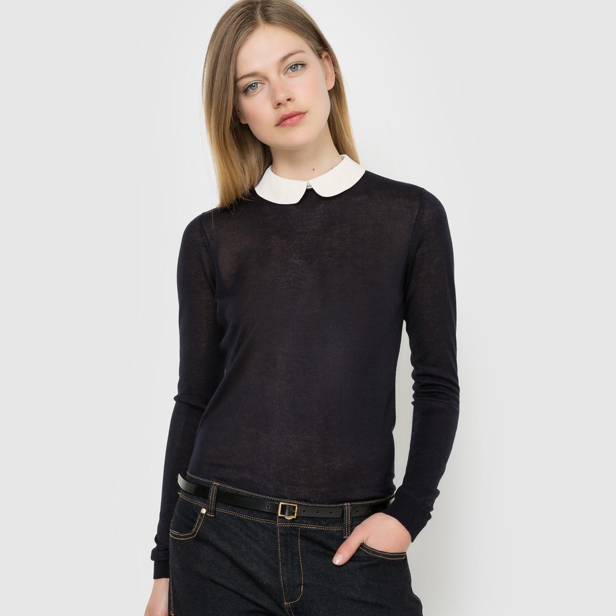 Пуловер с отложным закругленным воротником и длинными рукавамиУходСтирать при 30°C.<br><br>Цвет: серый меланж,синий морской,черный<br>Размер: 42/44 (FR) - 48/50 (RUS).50/52 (FR) - 56/58 (RUS).46/48 (FR) - 52/54 (RUS)