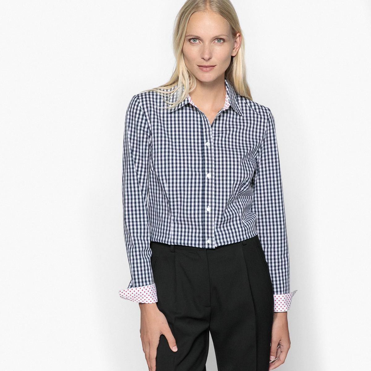 Блузка с рубашечным воротником в клетку виши из окрашенных волокон