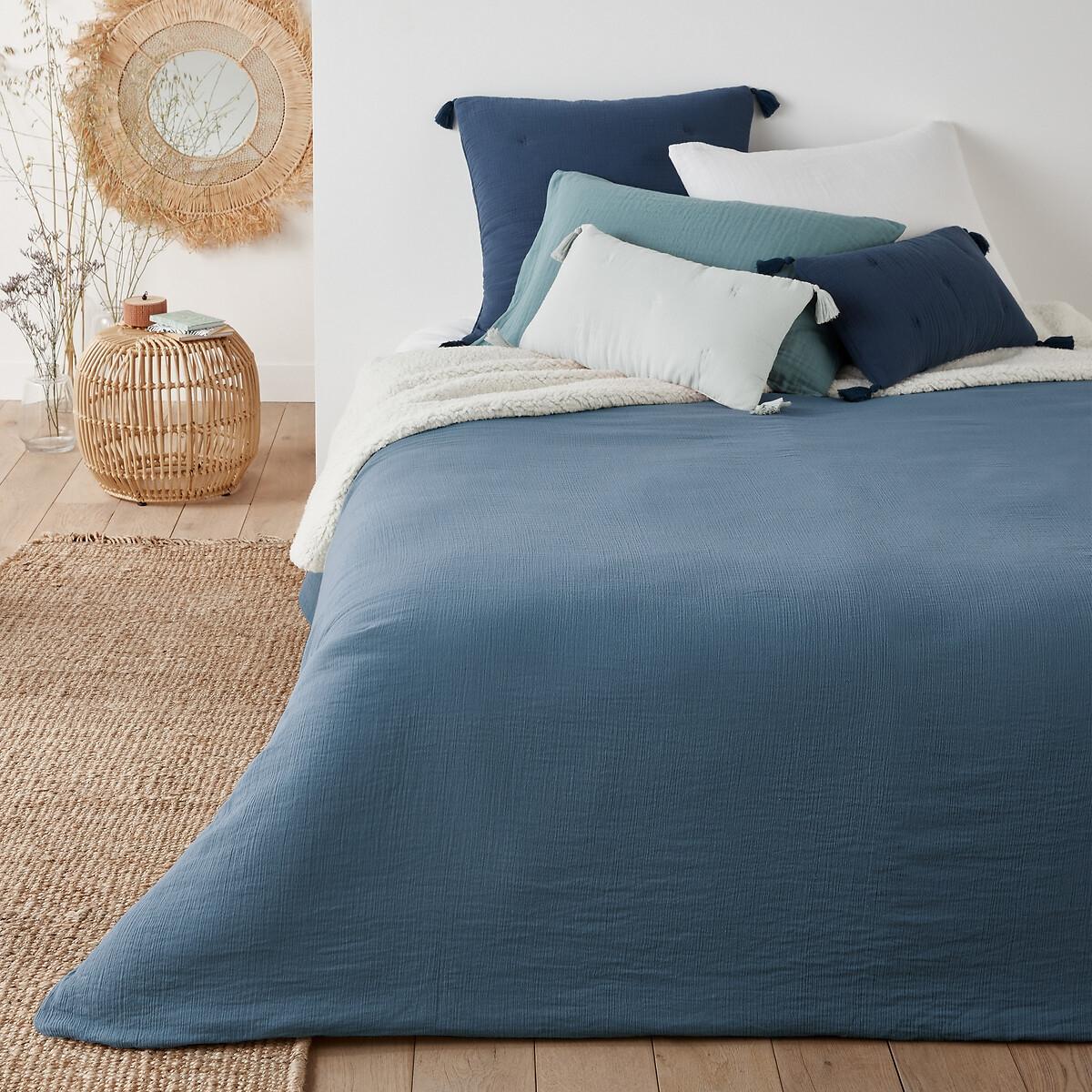 Покрывало LaRedoute На кровать однотонное из двух материалов Kumla 230 x 250 см синий