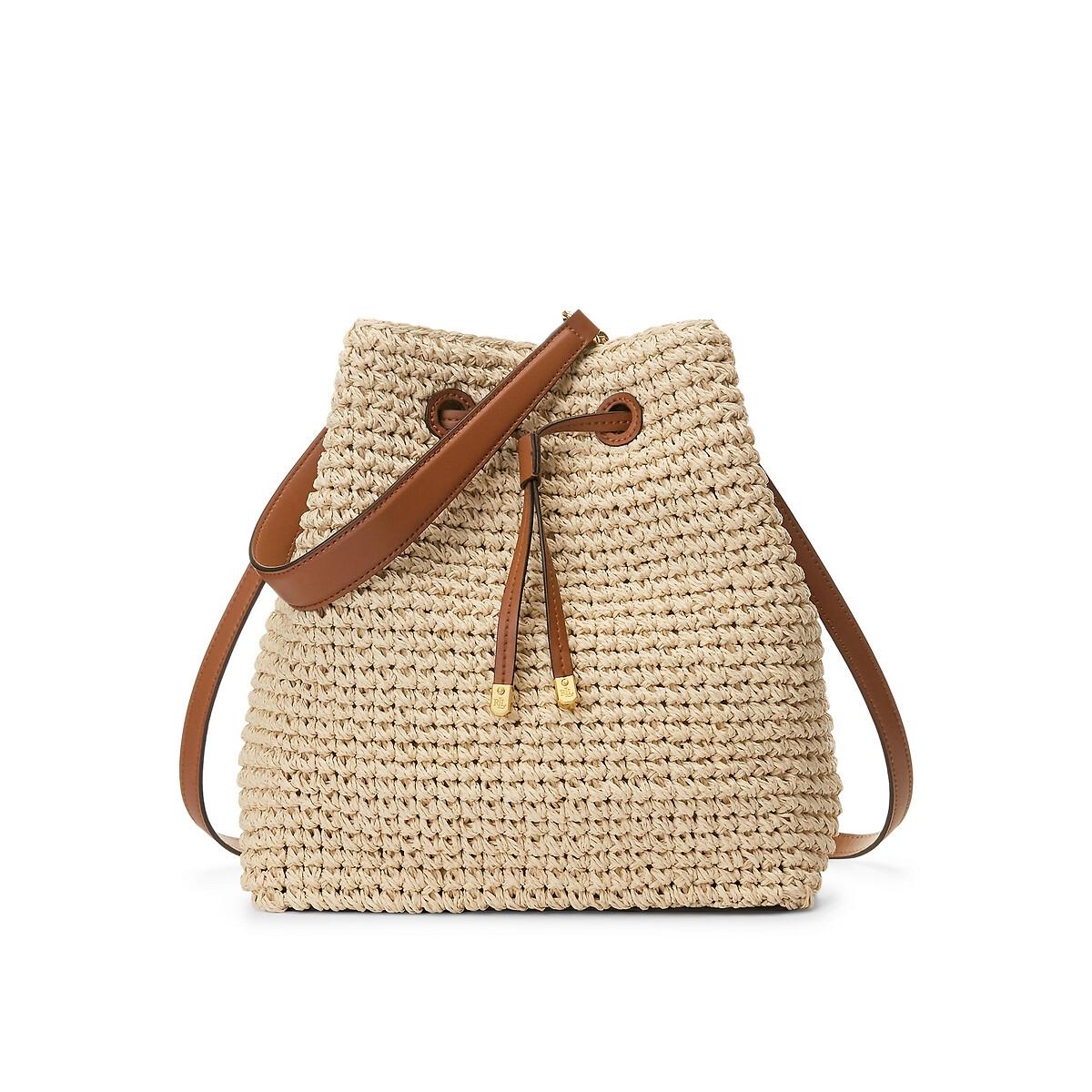 Сумка-ведро LaRedoute Из рафии единый размер бежевый сумка шоппер laredoute из джута с надписью gypsy единый размер бежевый