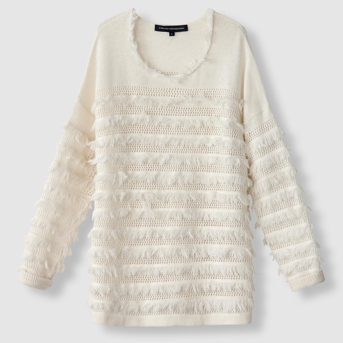 Пуловер с бахромой и ажурным узором, с круглым вырезом пуловер с бахромой и ажурным узором с круглым вырезом
