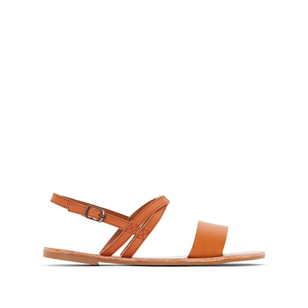 Сандалии CatalinaВерх : кожа.   Стелька : кожа.   Подошва : Каучук   Форма каблука : плоский каблук.   Мысок : открытый мысок   Застежка : без застежки<br><br>Цвет: темно-бежевый<br>Размер: 38.42