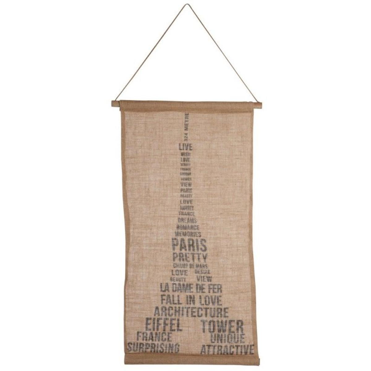 Décoration Murale à Suspendre en Jute Tour Eiffel