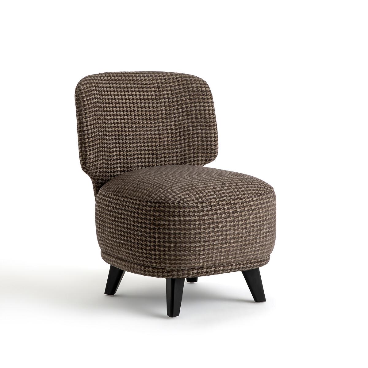Кресло LaRedoute Каминное с принтом в ломаную клетку размер L Odalie Э Галлина единый размер серый