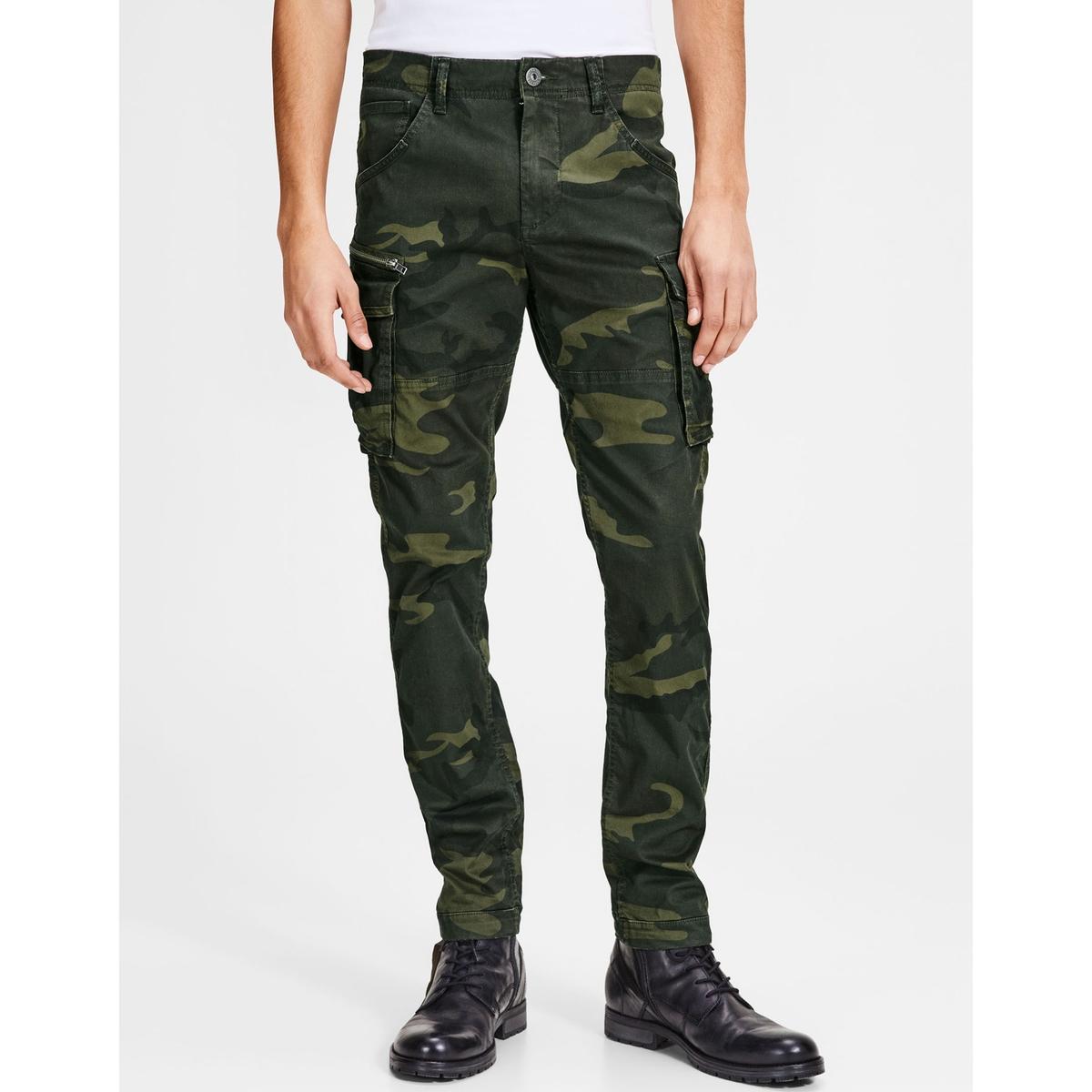 Pantaloni cargo, fantasia mimetica, taglio slim, stretch