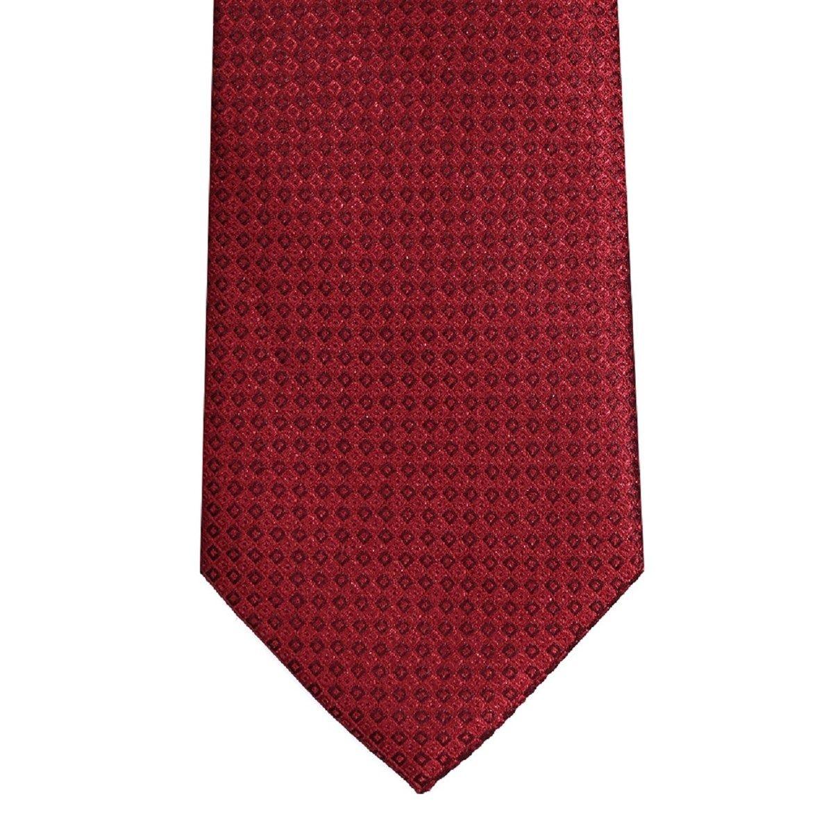 Cravate pure soie à losanges rouges