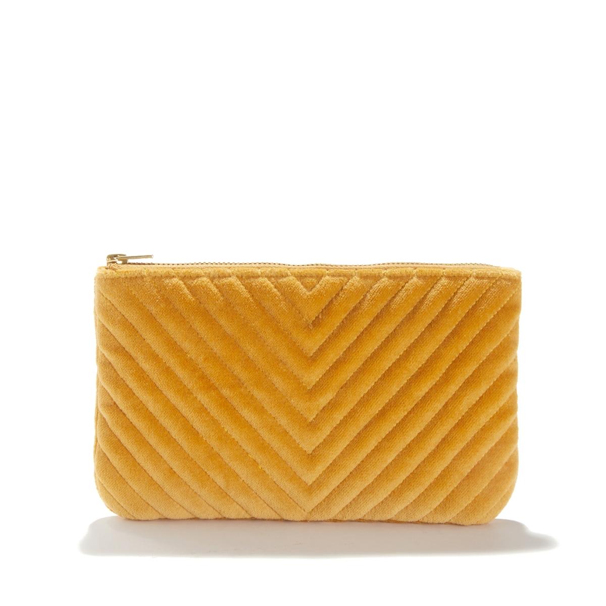 Сумка-клатч LaRedoute Из бархата и чистого хлопка Velvet единый размер желтый недорого