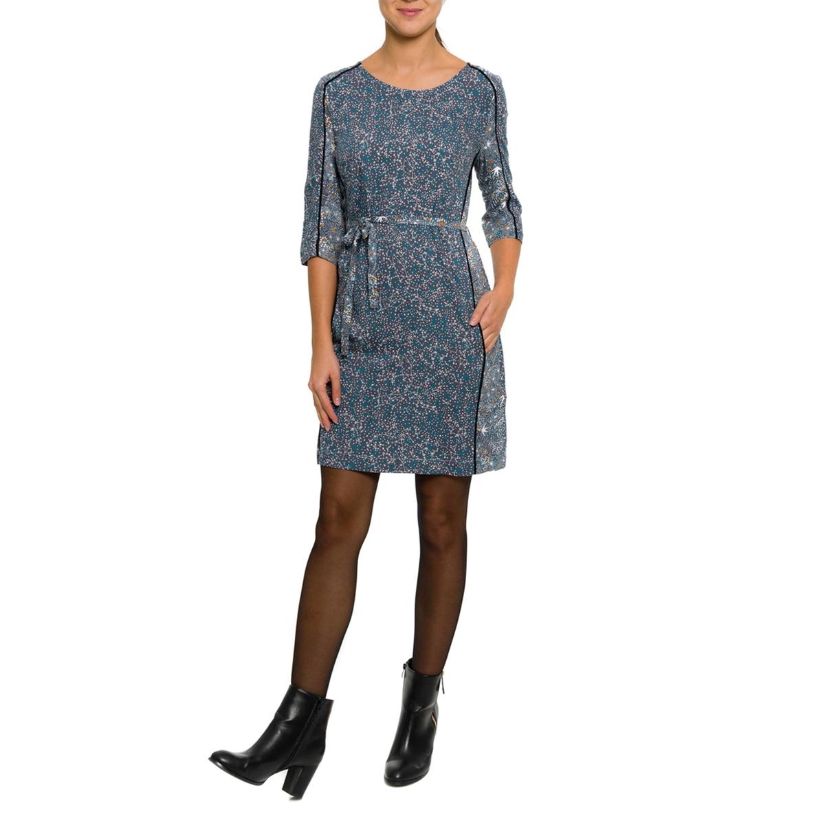Платье с рукавами 3/4Состав и описание:Материал: 100% вискозы.     Марка: PARAMITA.<br><br>Цвет: синий/наб. рисунок<br>Размер: S