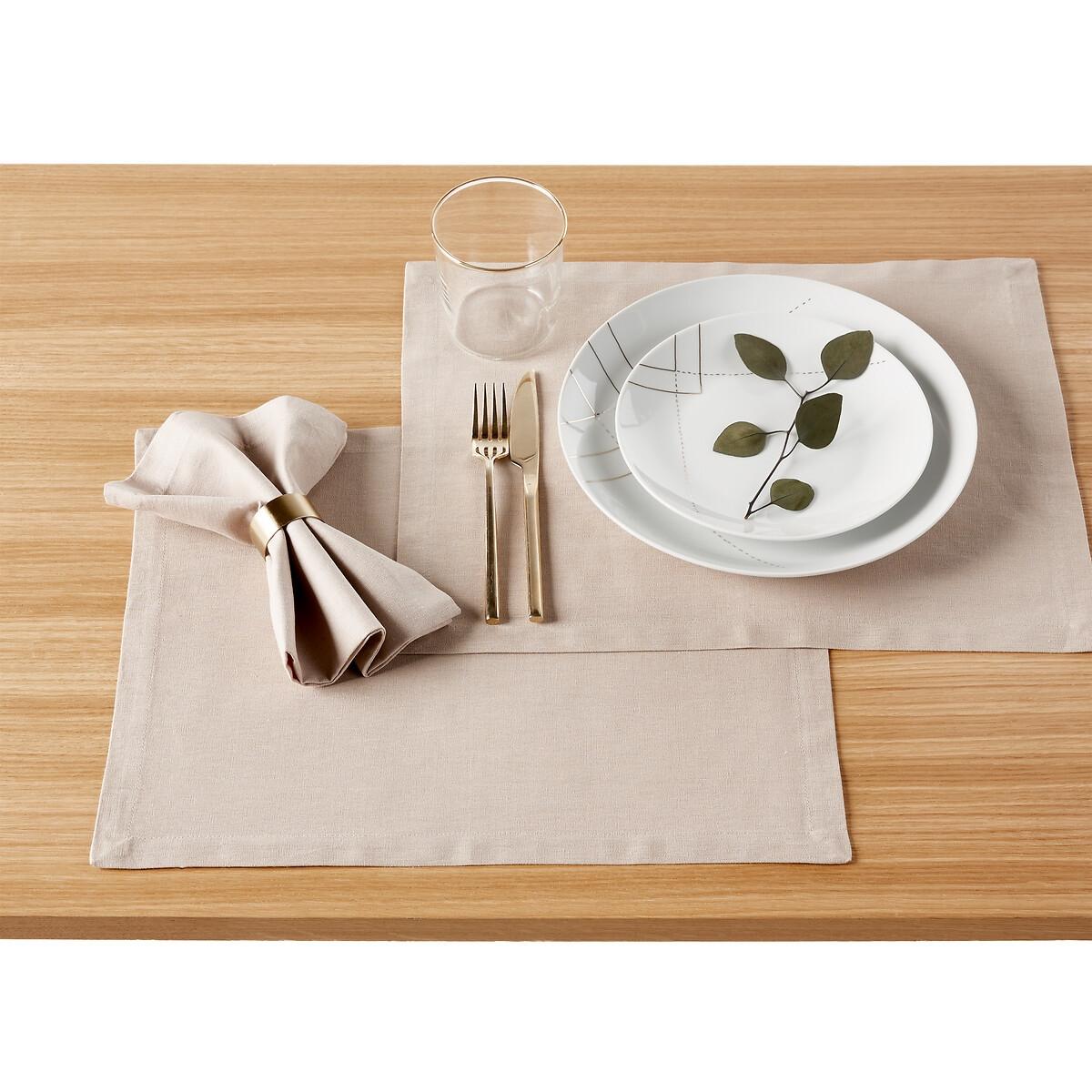 Набор LaRedoute Из 4 подложек под столовые приборы из льна и хлопка Border единый размер бежевый