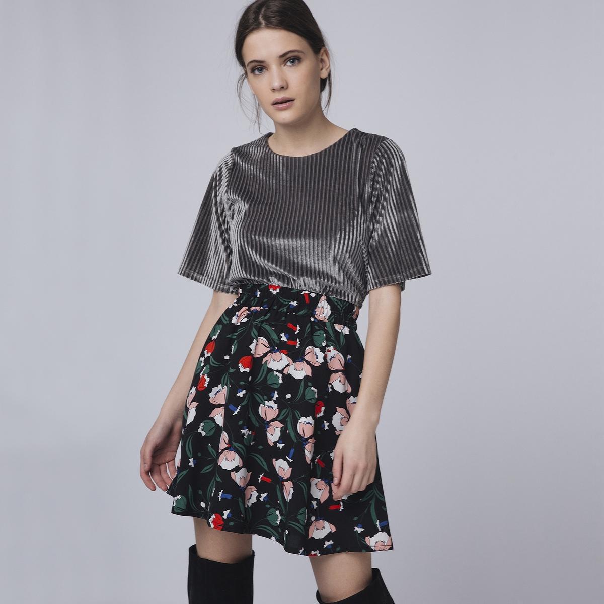 Юбка короткая расклешенная с цветочным принтом юбка расклешенная