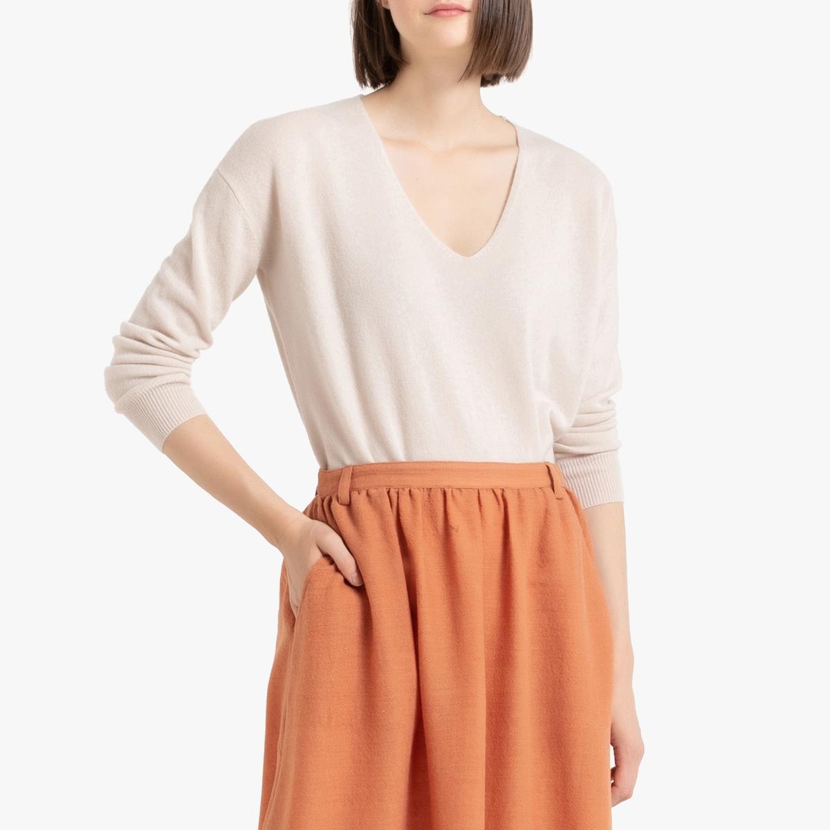 Пуловер La Redoute Из кашемира с V-образным вырезом объемный покрой S белый ic men коричневый пуловер из кашемира