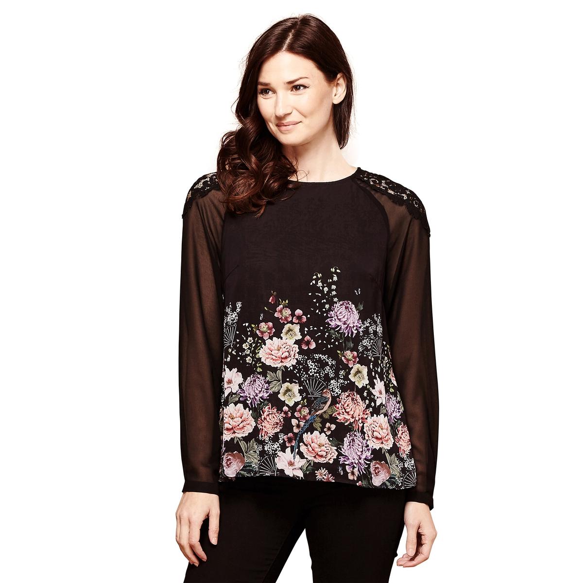 Блузка с круглым вырезом, цветочным рисунком и длинными рукавами платье yumi yumi платье