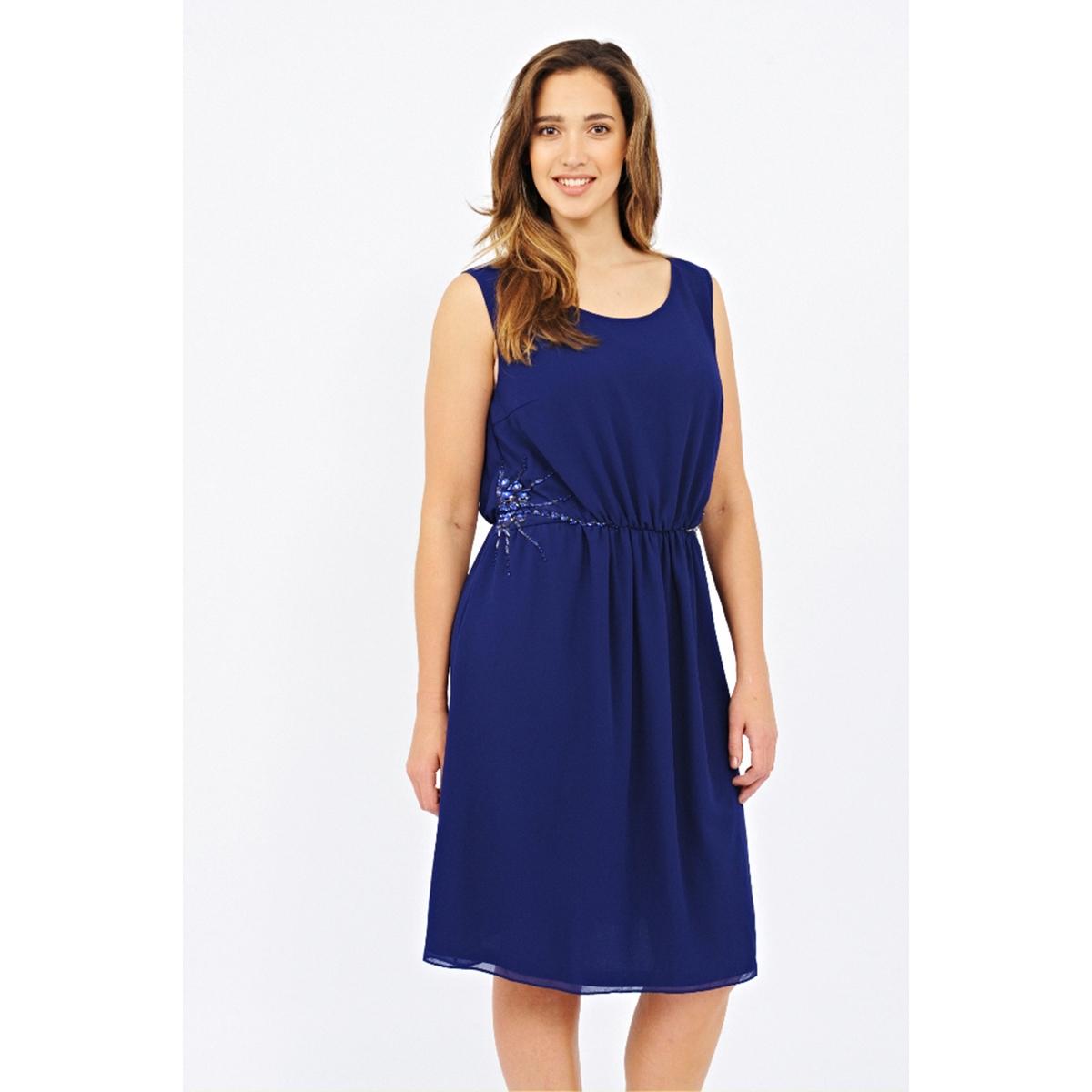 ПлатьеПлатье без рукавов - LOVEDROBE. Круглый вырез. Декоративные вставки сбоку. Длина ок.104 см. 100% полиэстера.<br><br>Цвет: темно-синий