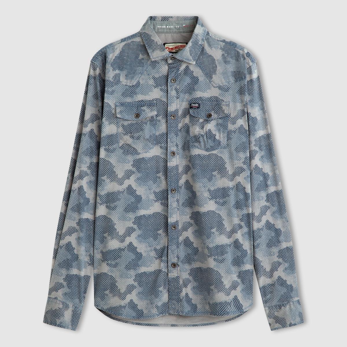 Рубашка с рисункомСостав и описаниеМатериал: 98% хлопка, 2% эластана.Марка: PETROL INDUSTRIES.<br><br>Цвет: серый<br>Размер: L