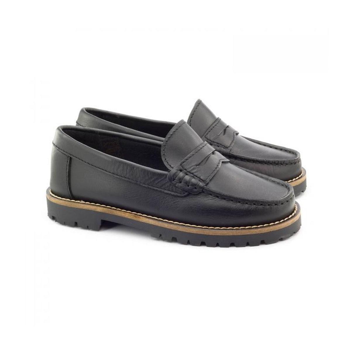 Boni School, mocassins cuir noir