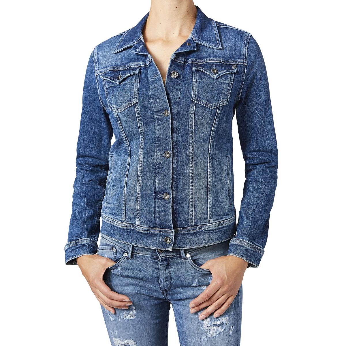 Жакет джинсовый прямого покрояОписание:Детали • Джинсовая ткань •  Прямой покрой •  Воротник-поло, рубашечныйСостав и уход •  98% хлопка, 2% эластана •  Следуйте рекомендациям по уходу, указанным на этикетке изделия<br><br>Цвет: синий стираный