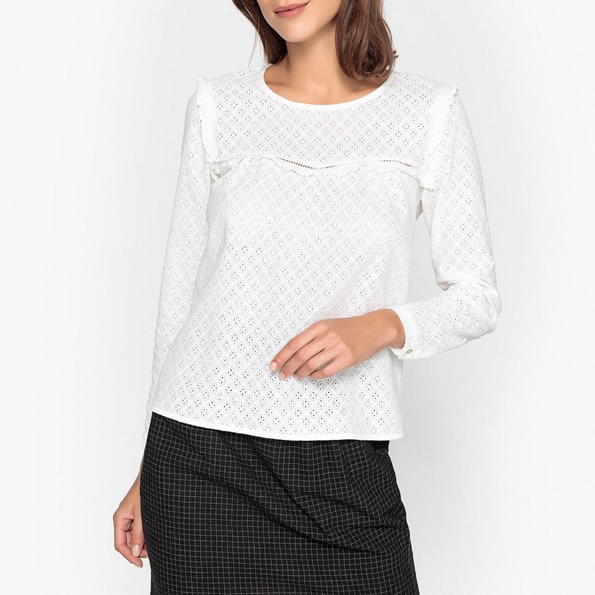 Блузка с английской вышивкой и воланом ACENE блузка с вышивкой в стиле фолк