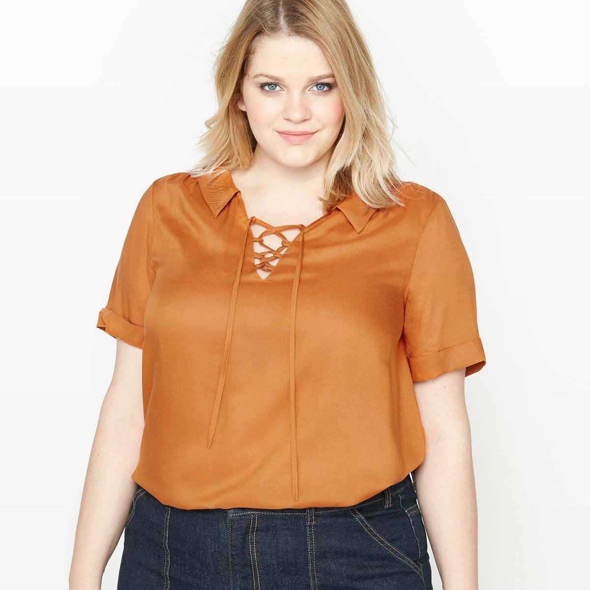 Блузка объемная с короткими рукавами