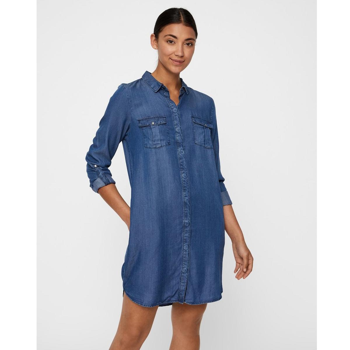 цена Платье-рубашка La Redoute Джинсовое XS синий онлайн в 2017 году
