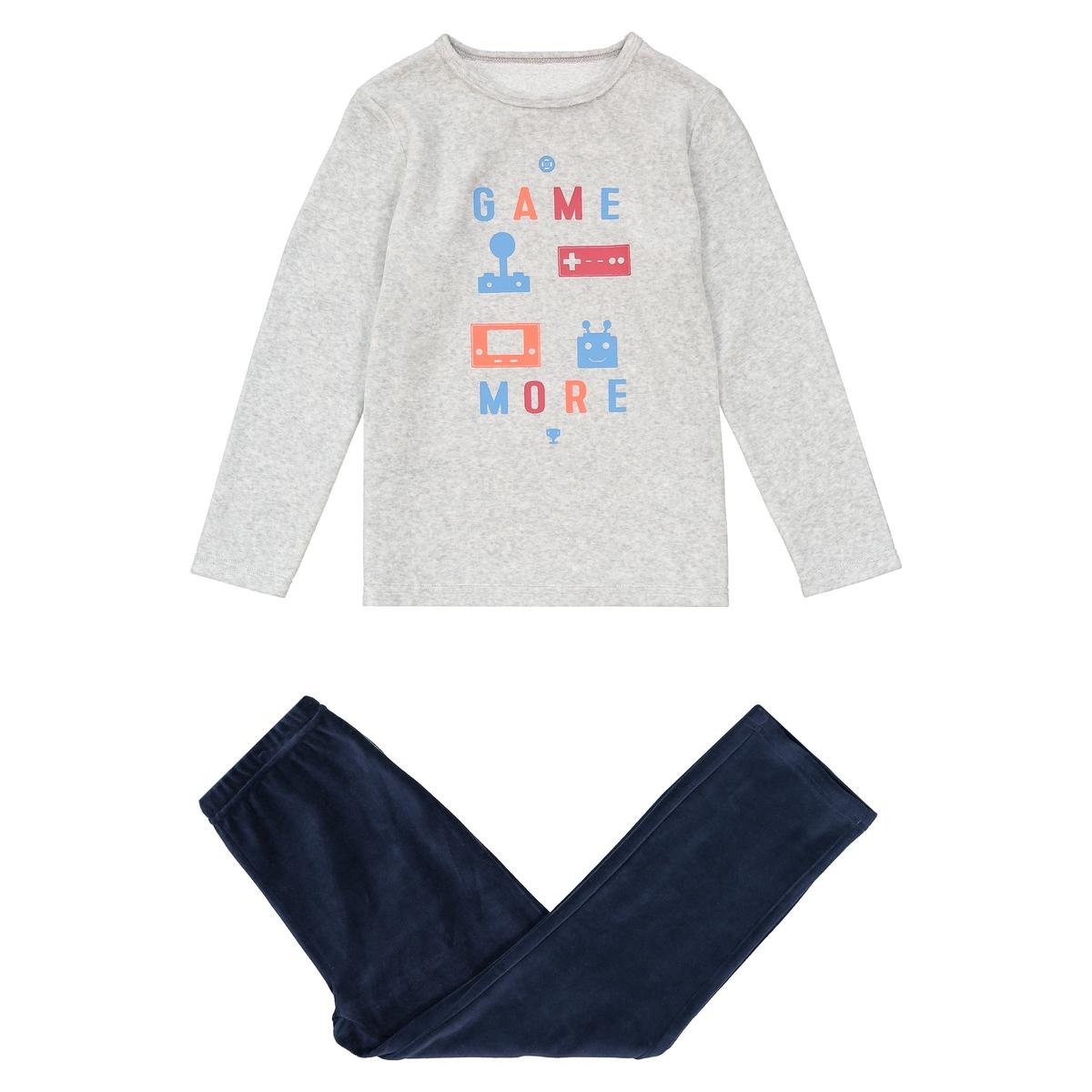 Пижама La Redoute Из велюра с принтом видеоигры - лет 12 лет -150 см серый пижама la redoute из предметов с рисунком 12 лет 150 см розовый