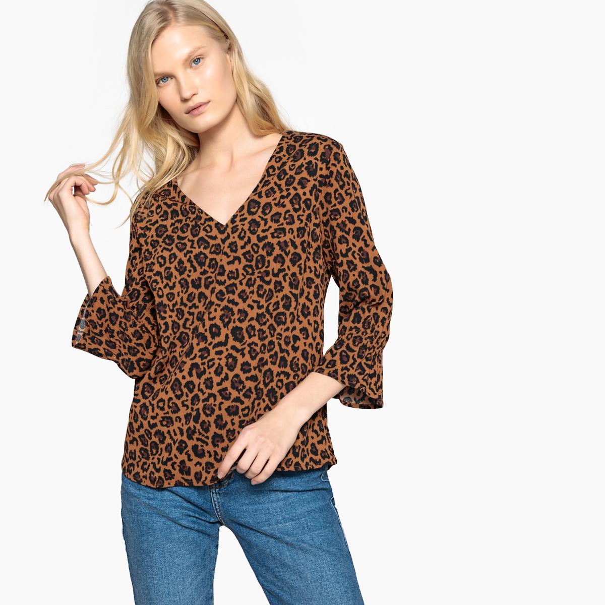 Блузка с v-образным вырезом с леопардовым принтом и рукавами 3/4 цена