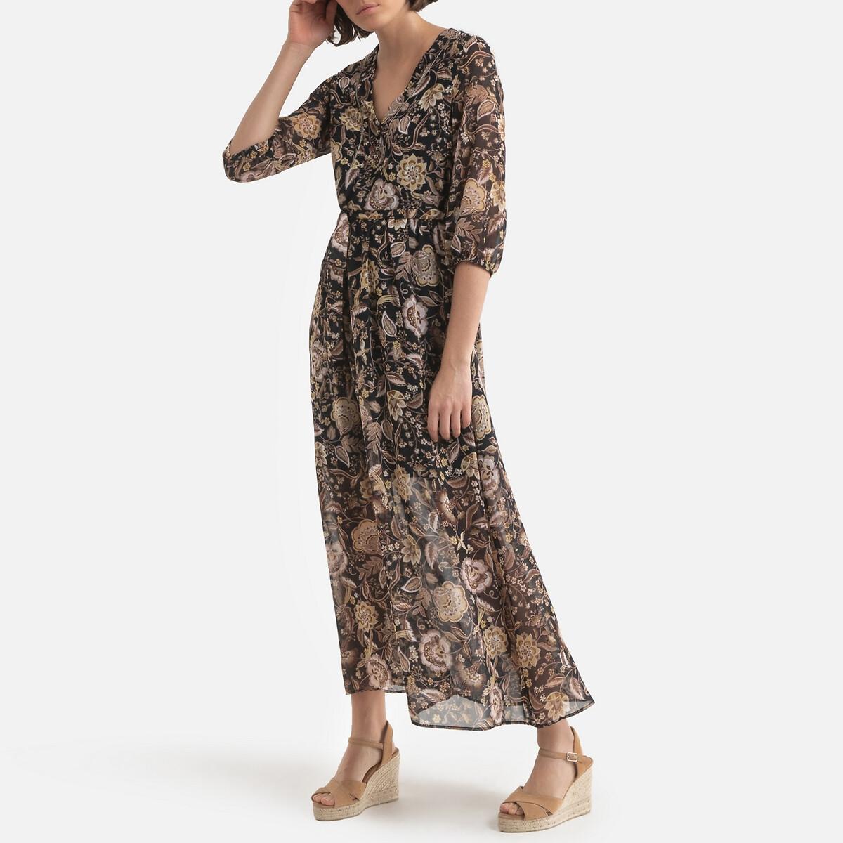 Платье LaRedoute Длинное расклешенное с цветочным рисунком 42 (FR) - 48 (RUS) черный