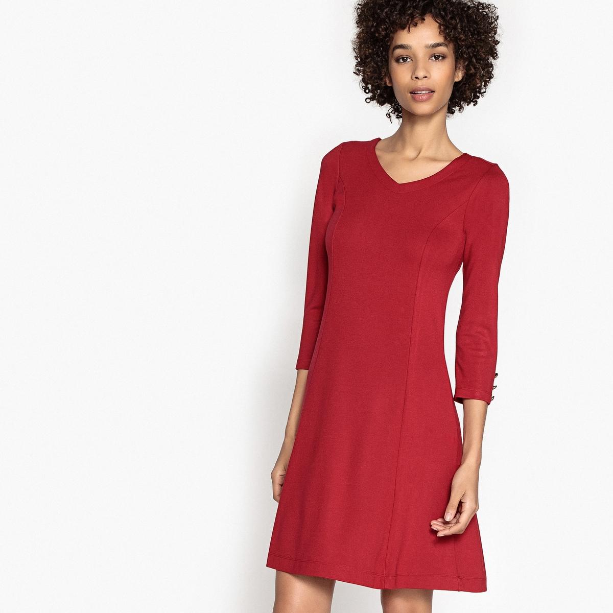 Платье однотонное расклешенного и короткого покроя с рукавами 3/4Детали •  Форма : расклешенная •  Укороченная модель •  Рукава 3/4    •   V-образный вырезСостав и уход •  83% вискозы, 3% эластана, 14% полиэстера •  Следуйте рекомендациям по уходу, указанным на этикетке изделия<br><br>Цвет: красный<br>Размер: 36 (FR) - 42 (RUS)