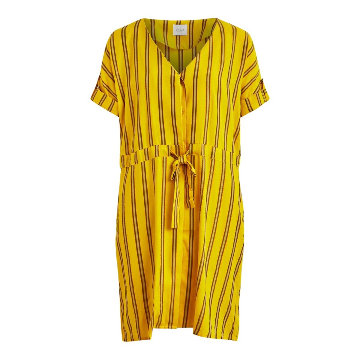 Платье LaRedoute Короткое расклешенное в полоску с V-образным вырезом 44 желтый