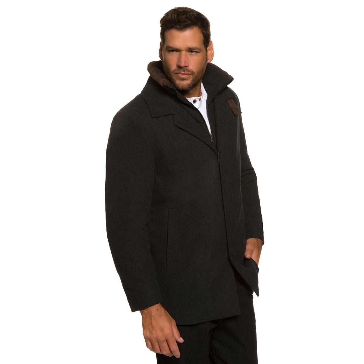 Пальто 50% шерстиПальто из шерсти и настоящего кашемира  ! Первоклассный дизайн, функциональное пальто со встроенным жилетом . Воротник на подкладке, вставки под кожу, невидимая застежка на молнию . 2 нагрудных кармана, 2 сдвоенных кармана . Длина спинки ок. 84 - 93 см .<br><br>Цвет: антрацит