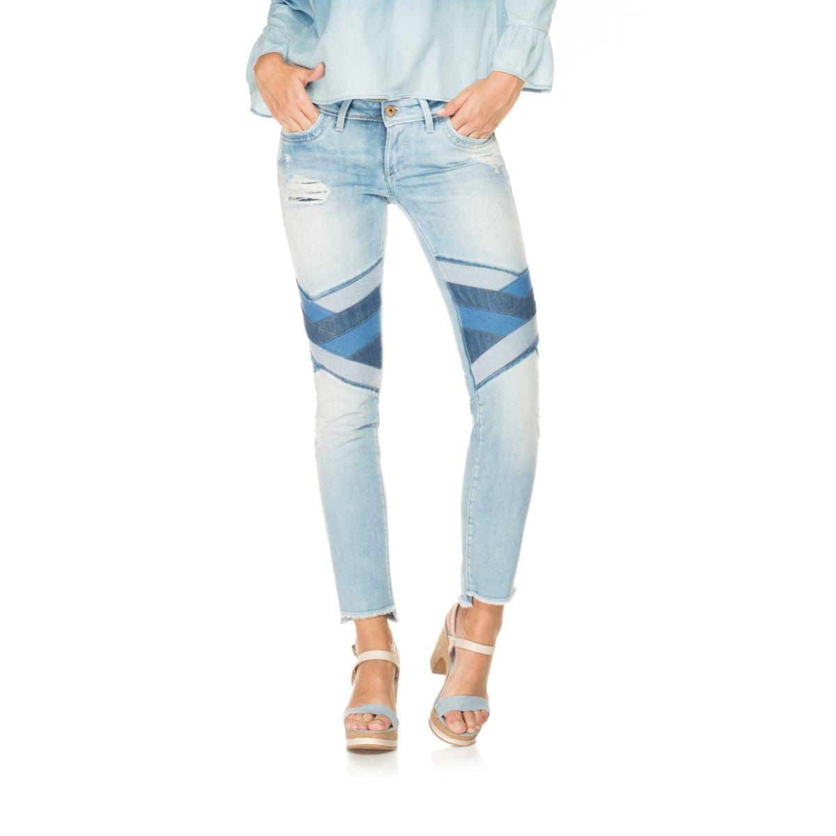 Pantalons Push Up avec ourlet asymétrique et dessin géométrique - Shape Up