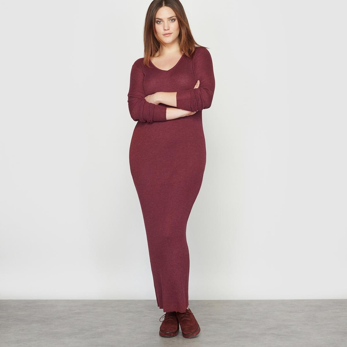 Платье-пуловер из трикотажа в рубчик