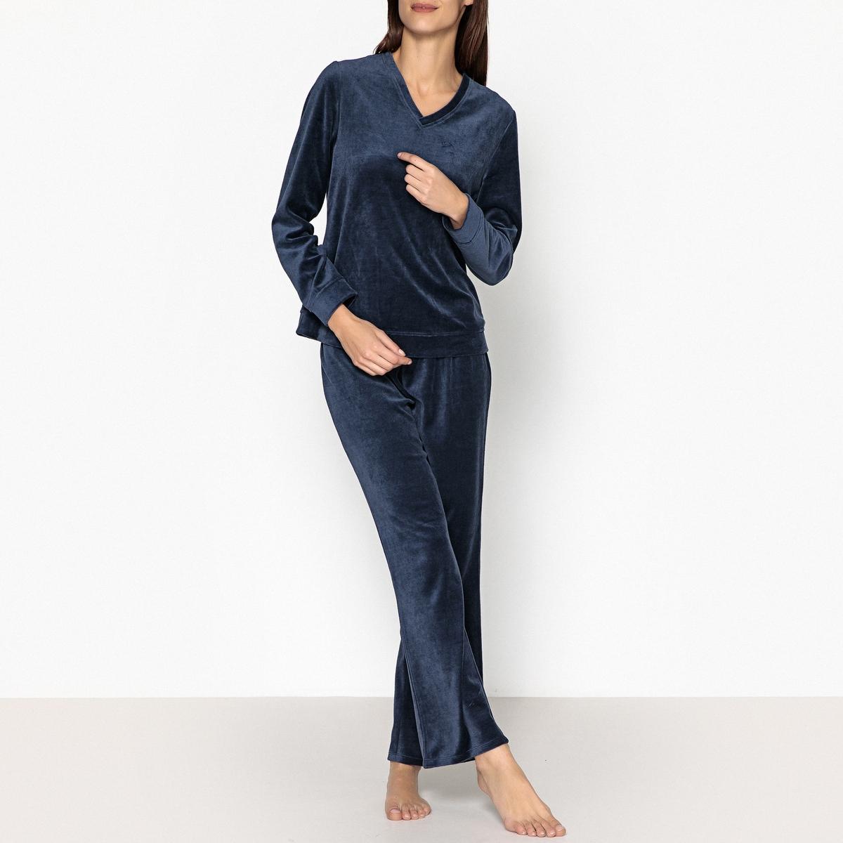 Пижама из велюра брюки скинни из велюра