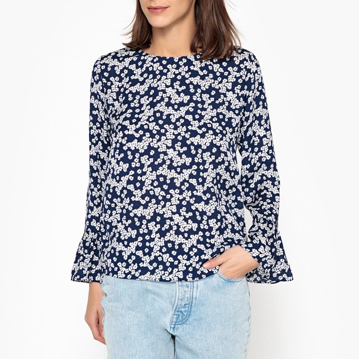 Блузка с рисунком, круглым вырезом и длинными рукавами блузка в клетку с воланами и длинными рукавами check
