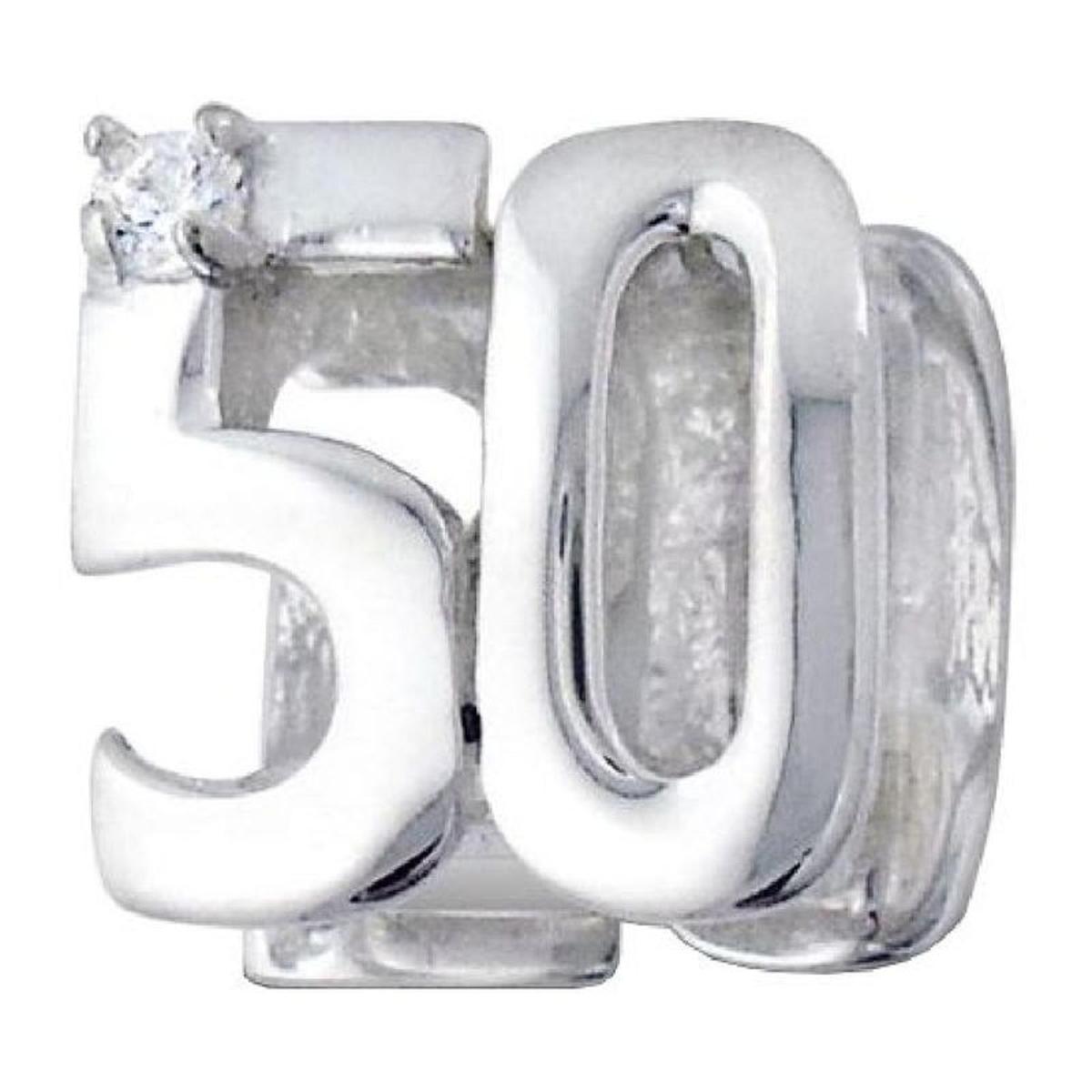 Charm 50 Ans Anniversaire - Charms Compatibles Pandora, Trollbeads, Chamilia, Biagi - Argent 925
