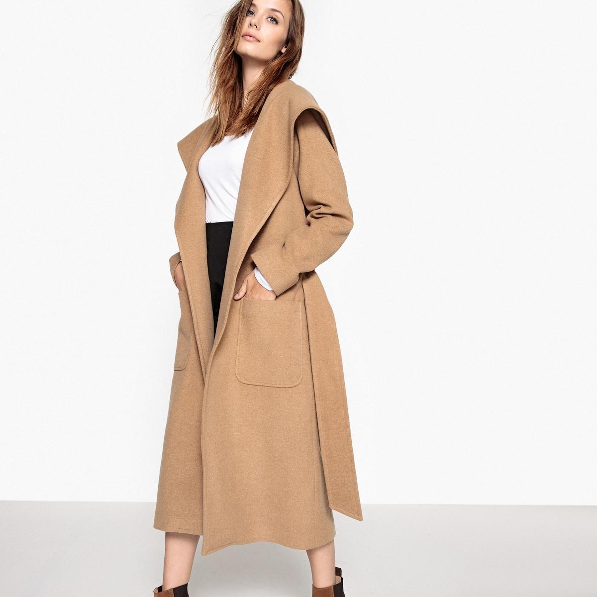 Пальто с капюшоном из шерстяного драпа пальто с эффектом шерстяного драпа
