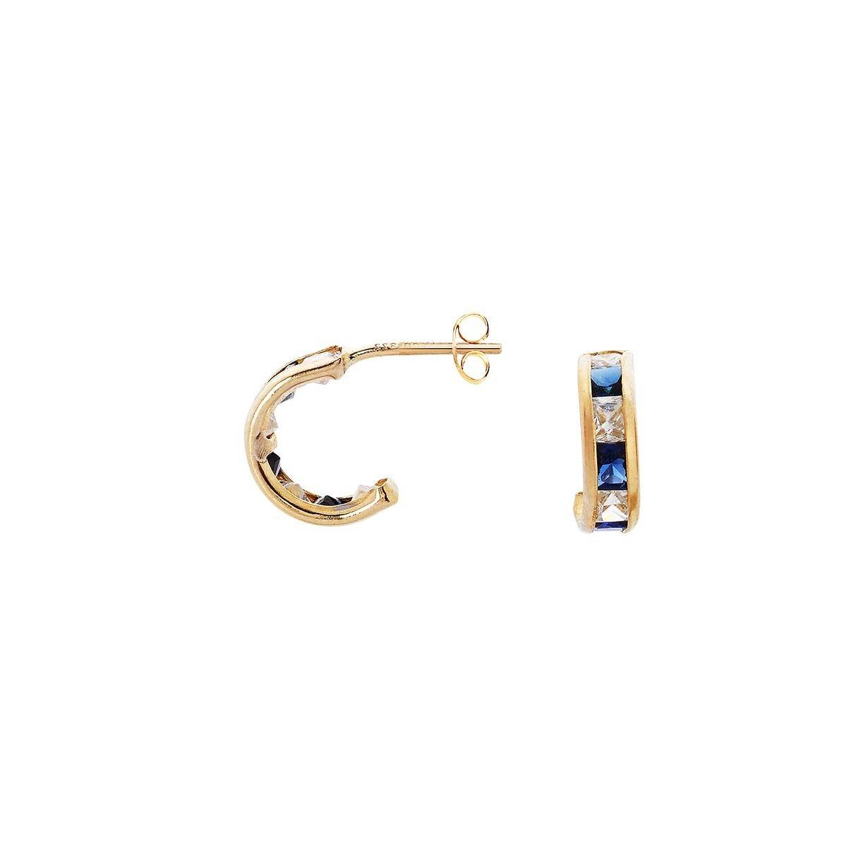 Boucles d'oreilles en Or 375/1000 Jaune et Saphir
