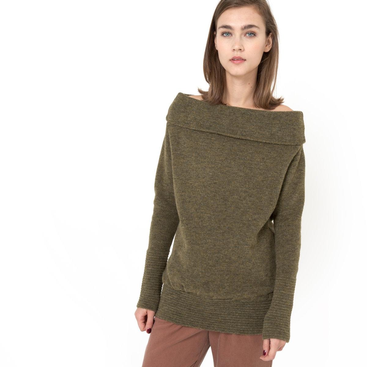Пуловер с круглым воротником и спущенными плечами, с длинными рукавами, LAURAПуловер с длинными рукавами LAURA - GAT RIMON. Теплый и приятный на ощупь пуловер с круглым драпированным воротником и спущенными плечами  . Рукава реглан с оригинальной отделкой ластик. Строчка в тон . 68% акрила, 30% полиамида, 2% эластана.<br><br>Цвет: хаки