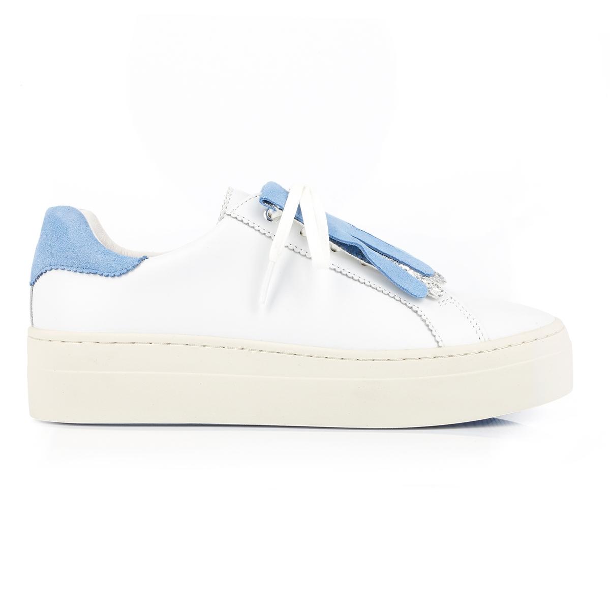 Кеды кожаные DacocotteОписание:Детали •  Спортивный стиль •  Плоский каблук •  Высота каблука : 3,5 см •  Застежка : шнуровкаСостав и уход •  100% яловичная кожа •  Подкладка : 100% кожа •  Стелька : 100% кожа •  Подошва : 100% каучук<br><br>Цвет: белый + синий