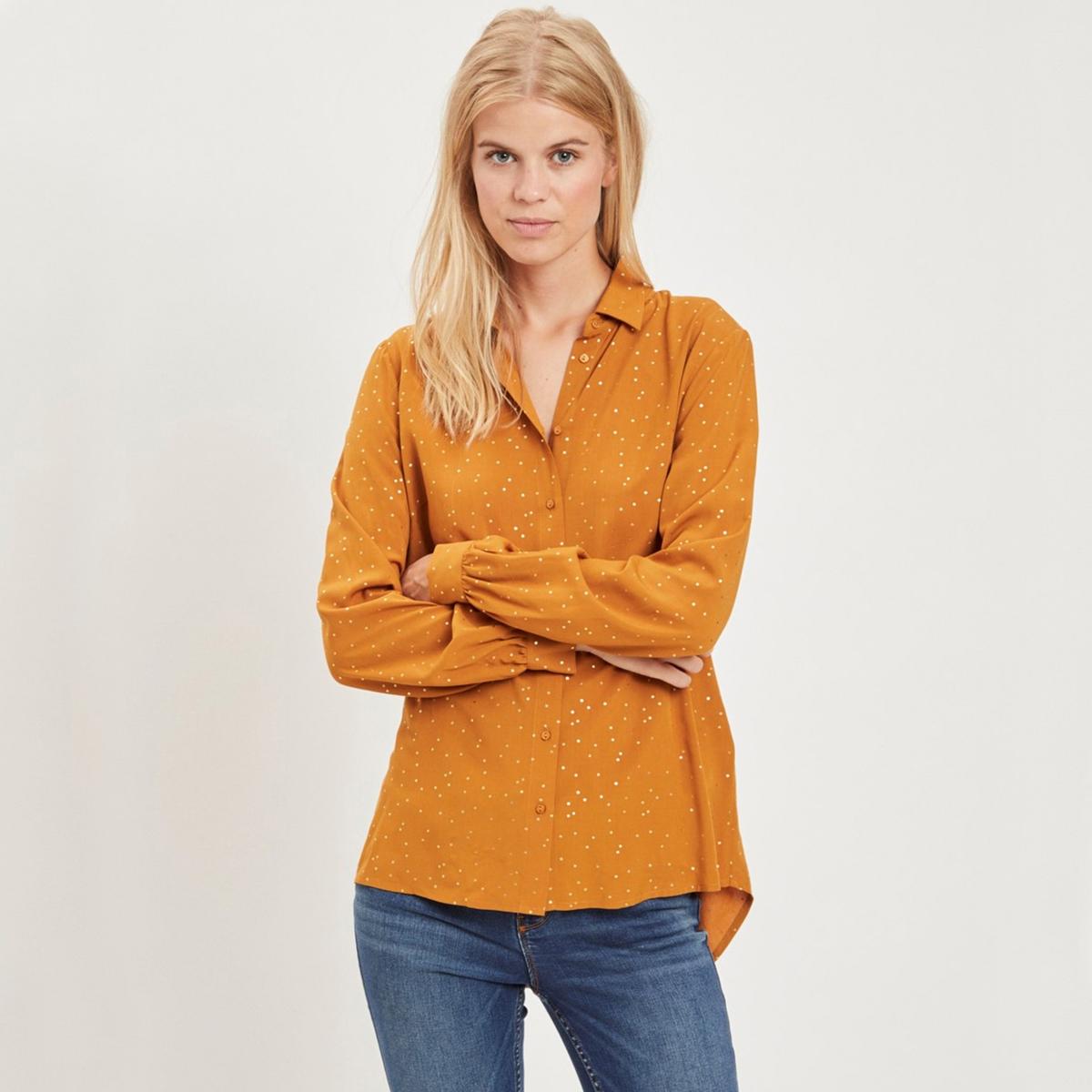 Рубашка с принтом в горошек с длинными рукавами цена 2017