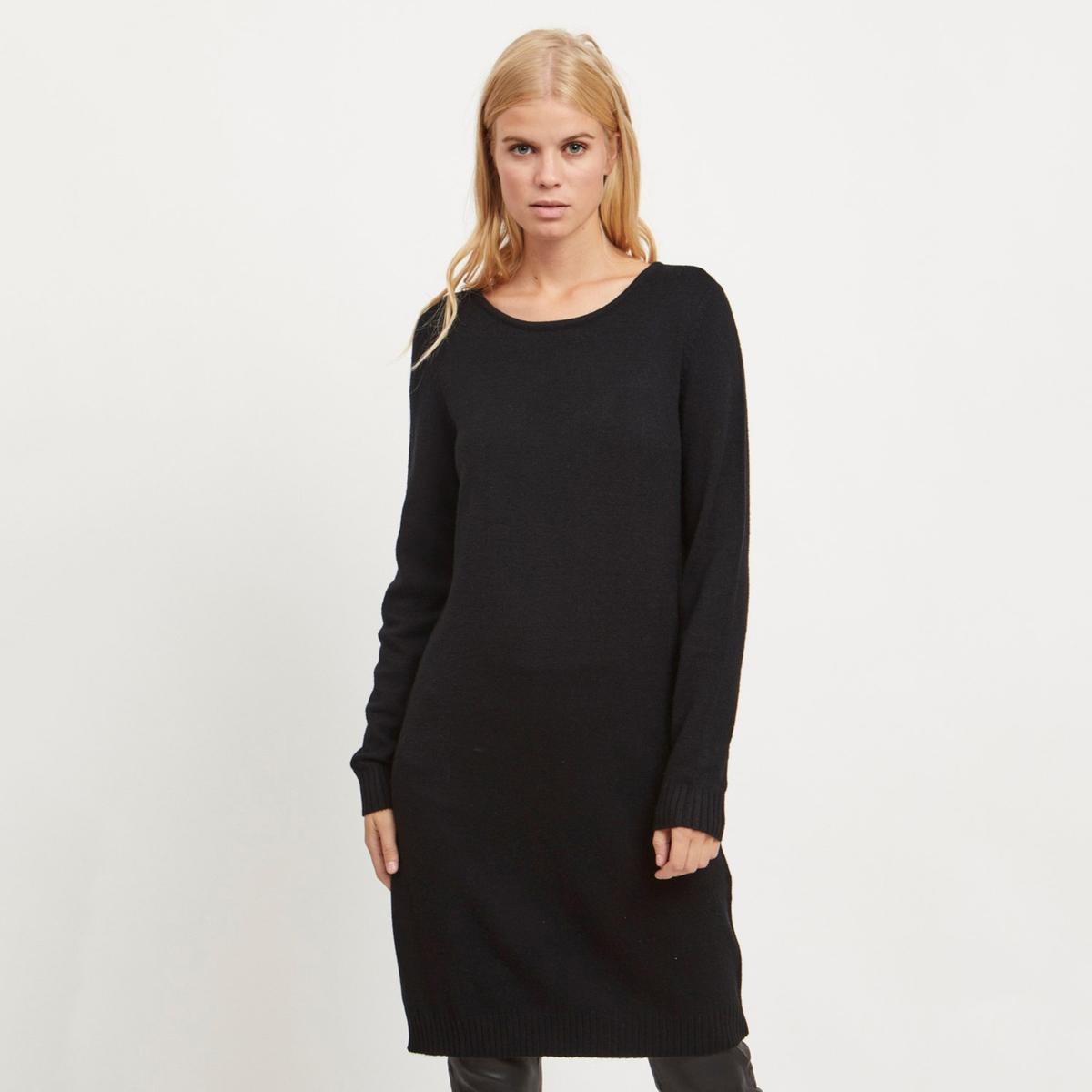цена Платье-пуловер La Redoute С круглым вырезом и длинными рукавами M черный онлайн в 2017 году
