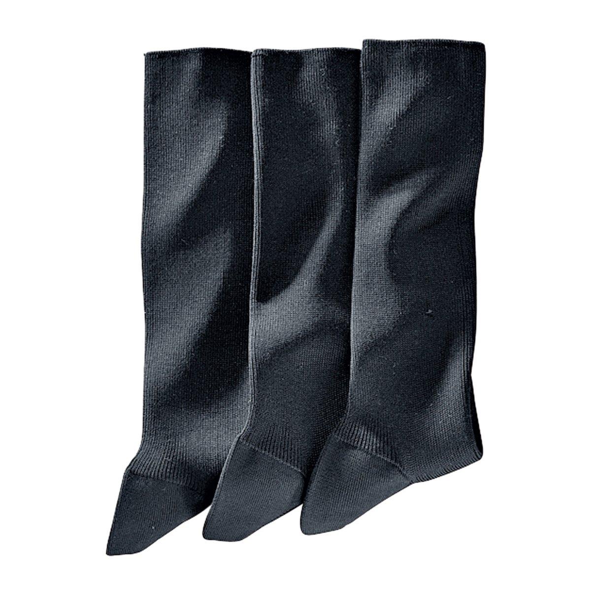 3 пары носков, 85% фильдекосаНоски свободного покроя: края носков не связаны в рубчик, поэтому они не сдавливают лодыжку и при этом отлично фиксируются на ноге. . 85% фильдекоса (крученой хлопчатобумажной пряжи), 15% полиамида.Укрепленные зоны в передней и задней части носка, петли подняты вручную.Для информации: носки темно-серого цвета имеют синеватый оттенок (что незаметно на фотографии).* фильдекос:Натуральная тонкая пряжа,  скручиваемая из нескольких ниток, которую используют только для производства носков самого высокого качества: Чтобы пряжа получила право носить имя фильдекос, она должна пройти 5 ступеней обработки:- Она производится только из длинных волокон хлопка.- Затем хлопок прочесывают, чтобы удалить все посторонние включения.- Операция опаливания позволяет устранить с поверхности все выступающие кончики, а значит, предотвратить скатывание ткани в дальнейшем.- Кручение пряжи, когда из двух нитей получают одну, значительно повышает ее прочность.- Наконец, мерсеризация придает ткани превосходную способность впитывать влагу тела (лучше, чем у классического хлопкового волокна), а также дарит ткани мягкость и атласный внешний вид.Чтобы дольше сохранить превосходное качество изделия, рекомендуем стирать его, вывернув наизнанку.<br><br>Цвет: антрацит,черный<br>Размер: 41/42.43/45.46/48.41/42
