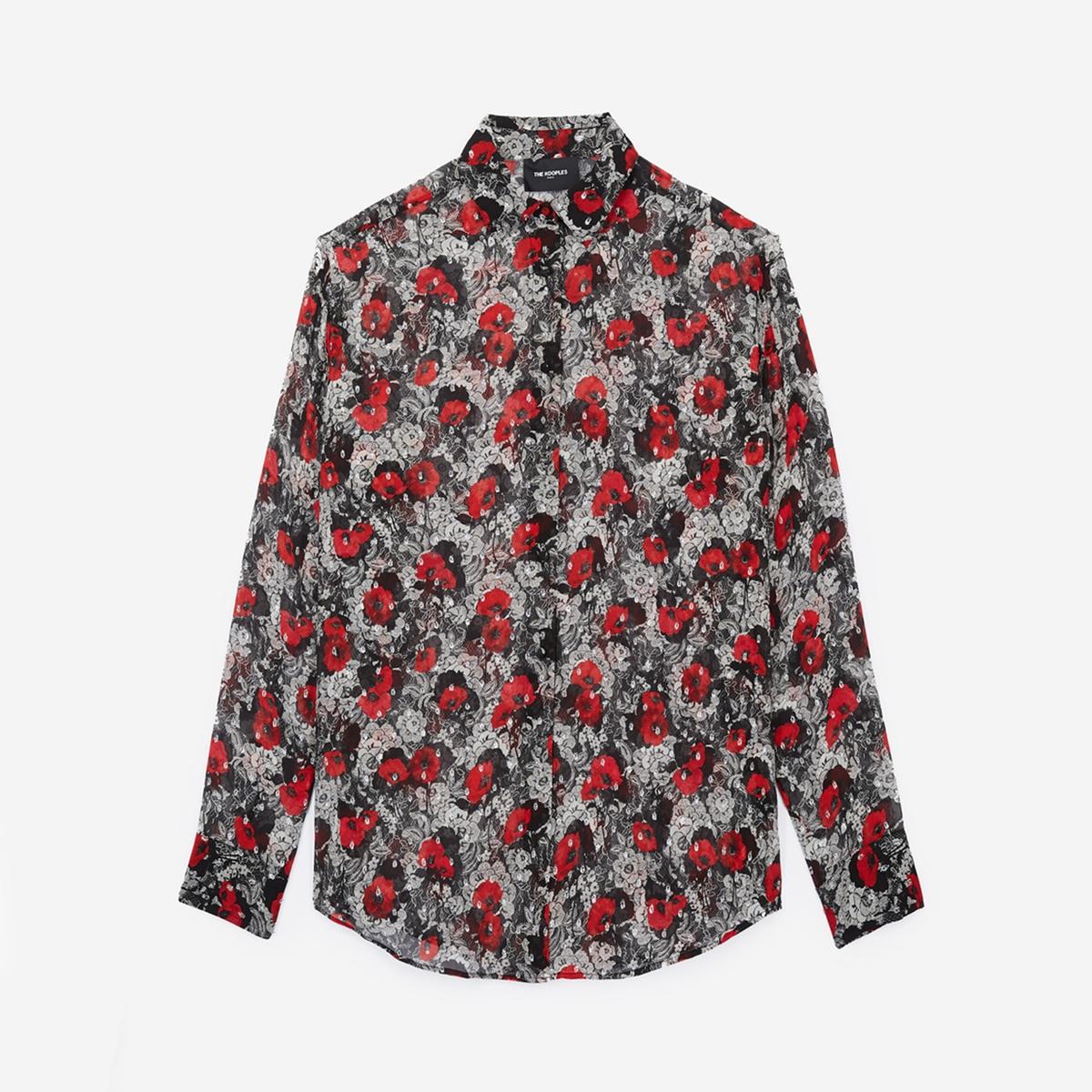 Blusa con estampado de flores y manga larga