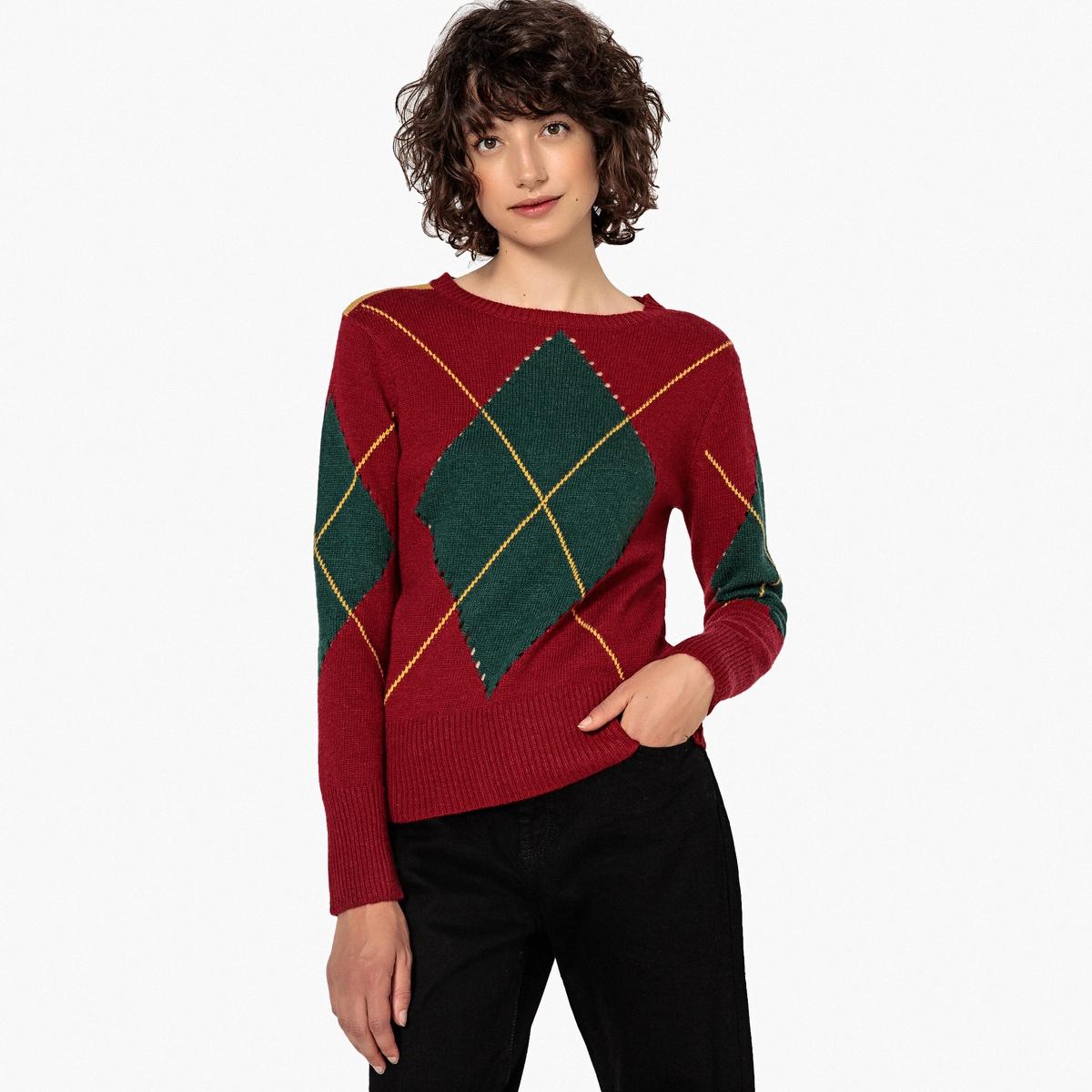 Jersey con cuello redondo de jacquard rombo