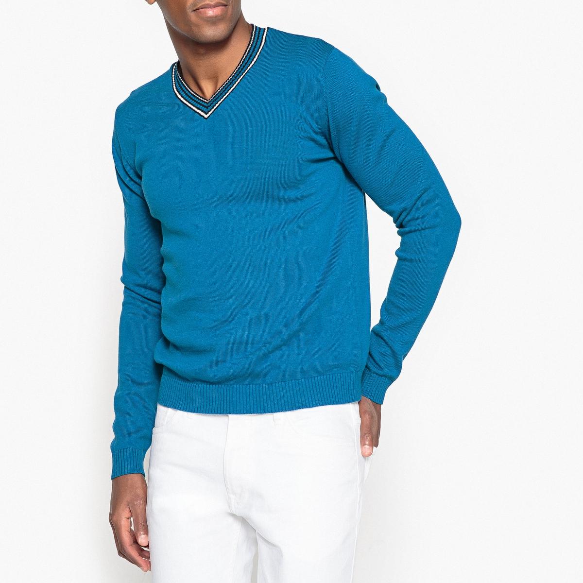 Sweter z kontrastowym dekoltem w serek