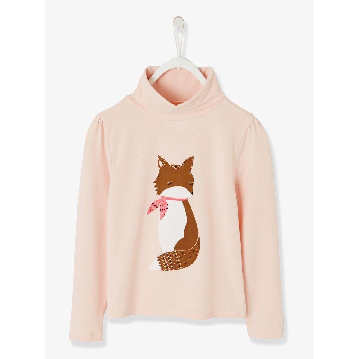 T-shirt fille imprimé renard détails irisés