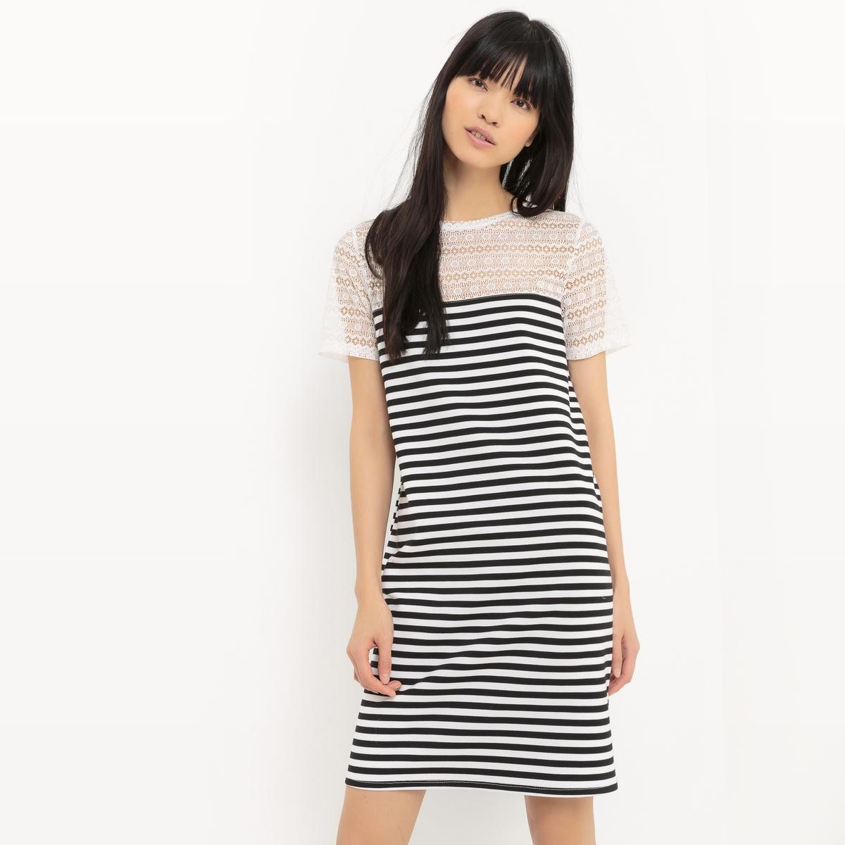 Платье-футляр из трикотажа в полоску и с верхом из кружева