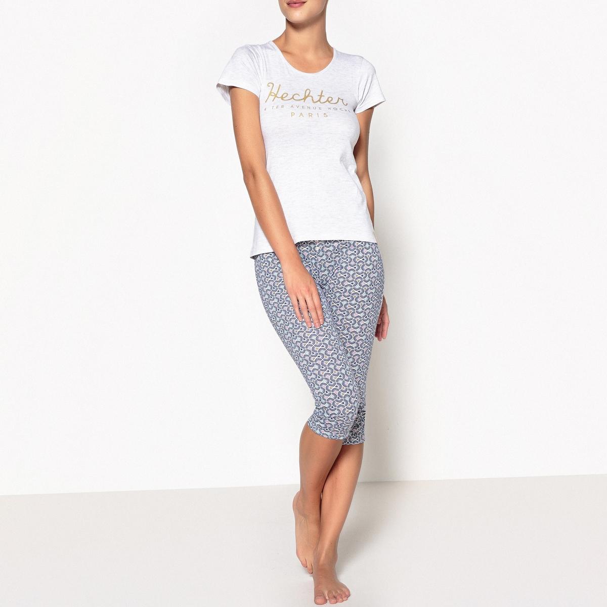 Пижама с укороченными брюками с рисунком